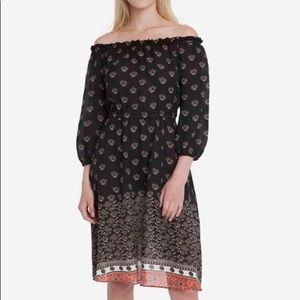 TUCKER Off Shoulder Boho Floral Silk Midi Dress S